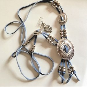 Vintage costume bolo necklace with earrings